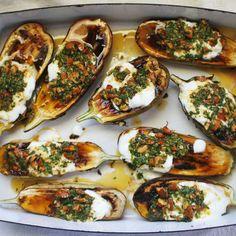 Roasted Eggplant with Cilantro-Almond Salsa