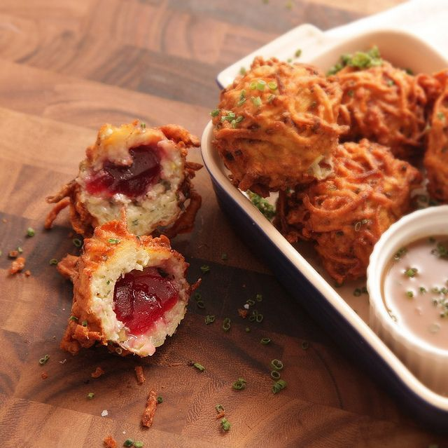 Latke-Crusted Turkey Stuffing Fritter with Liquid Cranberry Core