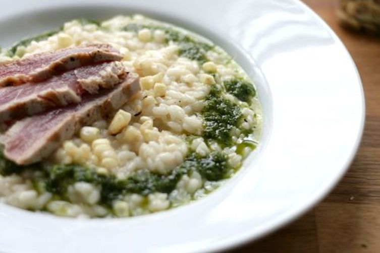 Charred Corn Risotto with Seared Tuna and Jalapeno-Basil Oil
