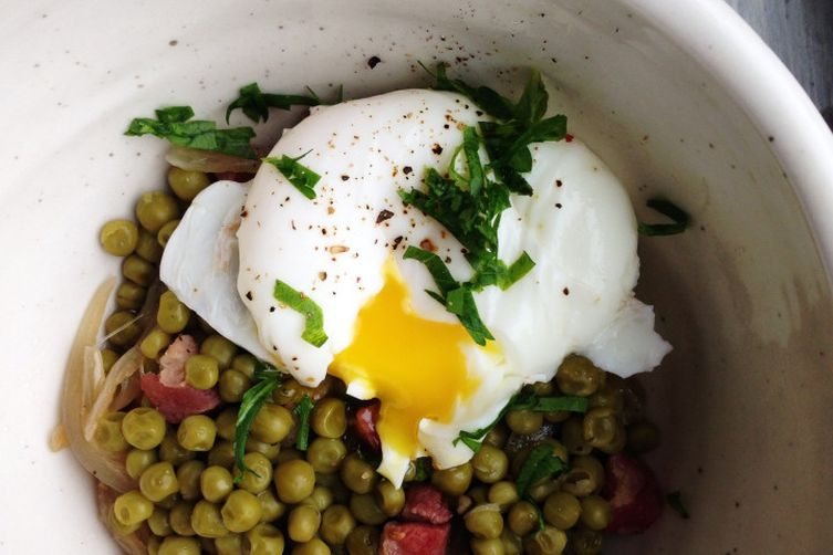 peas, pancetta +  poached egg