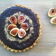 Chocolate + Coffee Tart with Roasted Figs