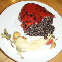 The Red and the Black. Roasted Red Peppers, Black Quinoa and Allioli (with apologies to Stendhal)