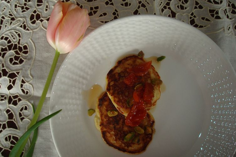 Ricotta-Brown Butter Pancakes with Tipsy Maple-Apricots