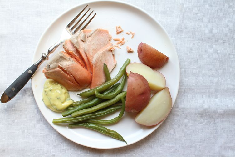 Poached Salmon with Beans + Basil Mayonnaise