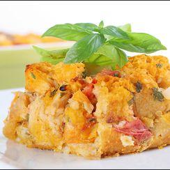 Tomato Davinci – Heirloom tomato savory bread pudding