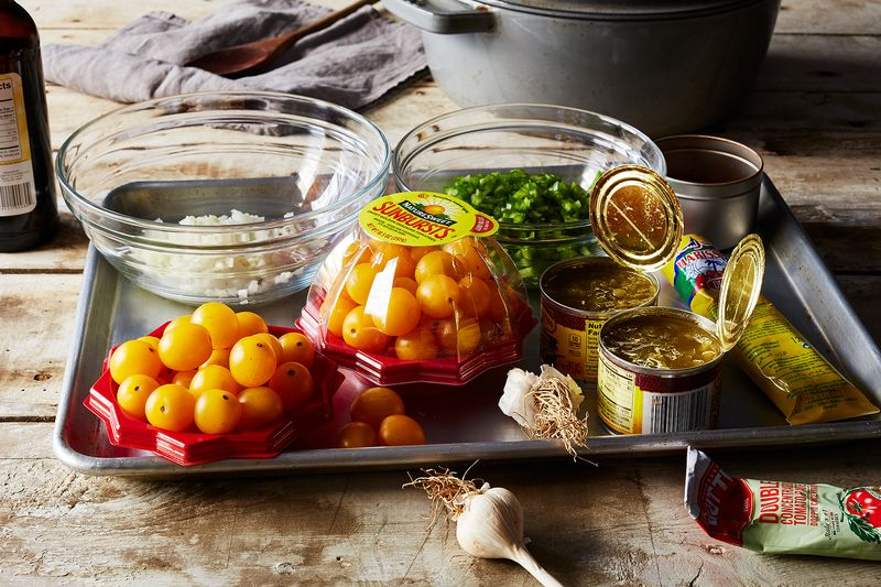 """""""Put us in a pot and make us chili!"""" - This tray of ingredients."""