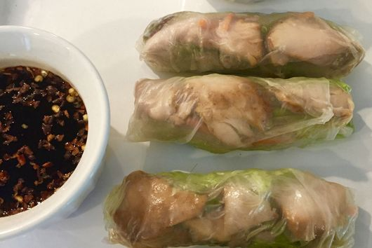 Teriyaki Salmon Spring Rolls with Two Dipping Sauces