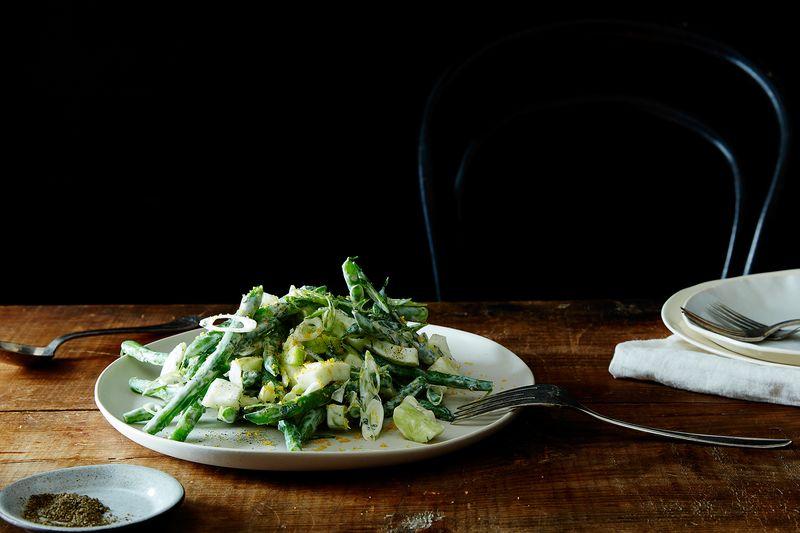 Chopped Kitchen Sink Salad with Yogurt Dressing & Bottarga