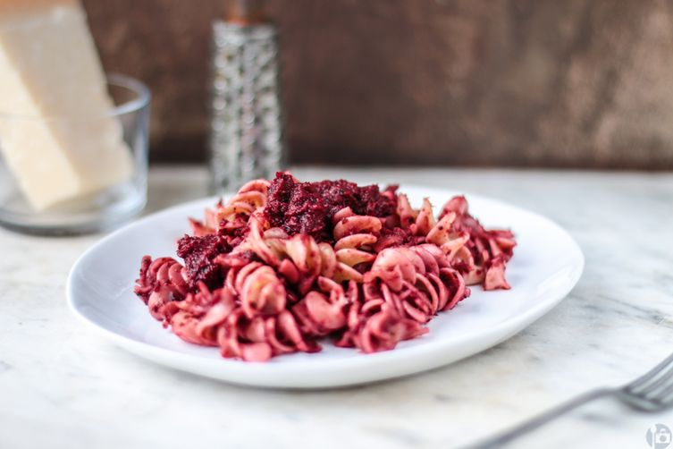 Pink Pasta - with a creamy vegan vegetable sauce