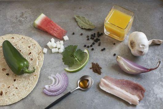 Braised Pork Belly Tacos with Watermelon, Jicama & Jalapeño Salsa
