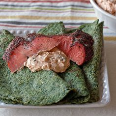 Spinach Crepes With Smoked Salmon And Lemony Greek Yogurt Sauce