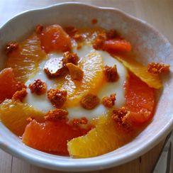 Citrus Yogurt Panna Cotta with Honeycomb