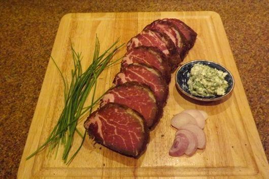 Chanterelle/Tarragon Herb Crusted Dry aged Beef Tenderloin : Filet Mignon steaks