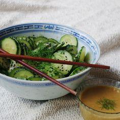 Asian style Cucumber salad with homemade wafu sauce.