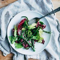 Blistered Fiddlehead & Green Bean Salad with Sherry-Orange Vinaigrette