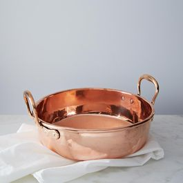 Vintage Copper Preserve Pan with Brass Handles, Mid 19th Century