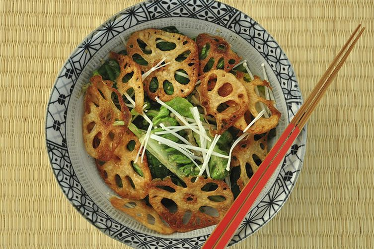 Lotus Root Green Salad with Sesame Dressing
