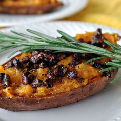 Twice Baked Sweet Potatoes with Rosemary, Gruyere and Coffee Spiced Pecans