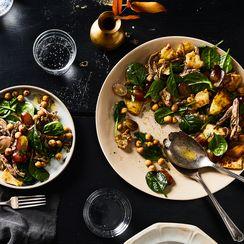 Warm Garam Masala Chicken Salad with Naan Croutons