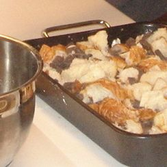 Bread Pudding with Chocolate Chunk Sauce