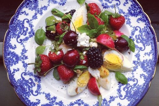 Hot Radish, Blackberry, Cherry & Basil Feta Salad with Hot Harissa Dressing