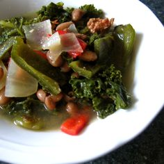 Pinto Beans, Roast Peppers & Kale Soup