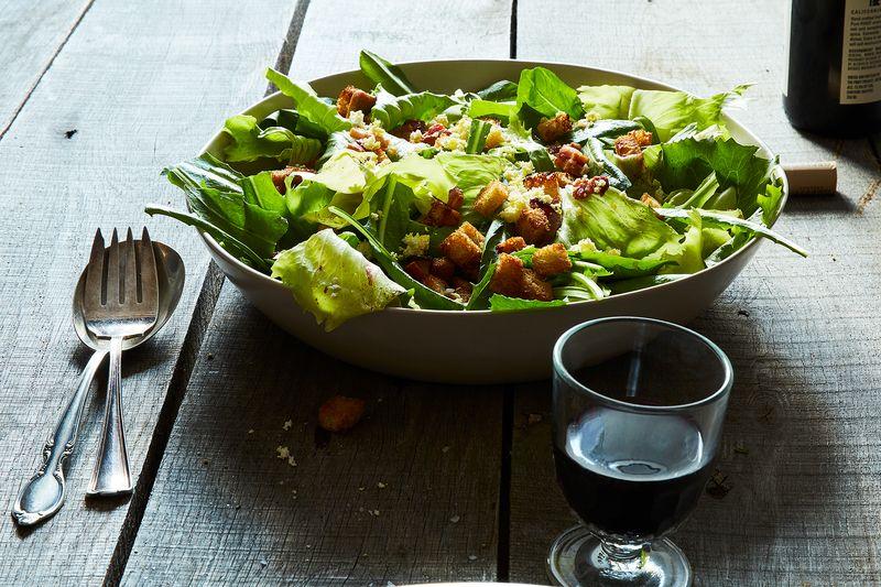 Chicory & Dandelion Salad with Warm Bacon Vinaigrette