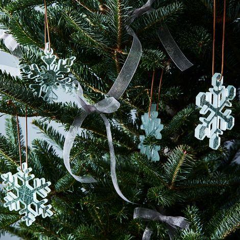 Glass Snowflake Ornaments (Set of 4)
