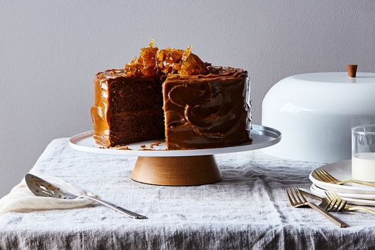 Gingerbread Cake with Dulce de Leche + Ginger Brittle