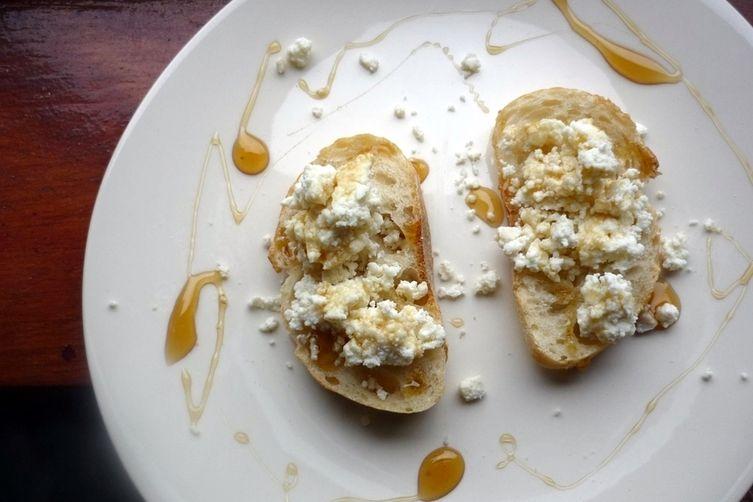 Crostini with Homemade Ricotta and Honey