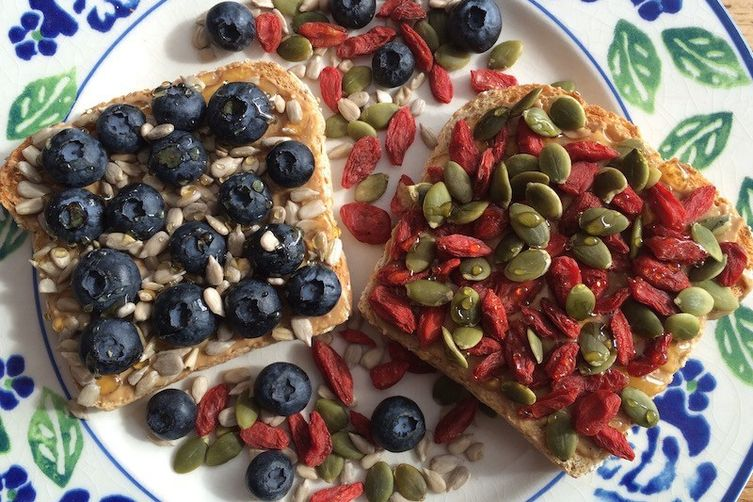 Cashew Butter Toast With Berries And Seeds: 2 Ways