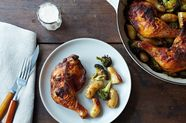 Roasted Achiote Chicken with Potatoes, Broccoli, and Tangerine Aioli