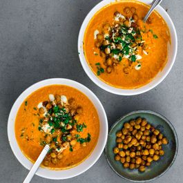 vegan oven roasted harissa carrot - tahini soup
