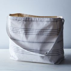 Grey Striped Canvas Beach Bag