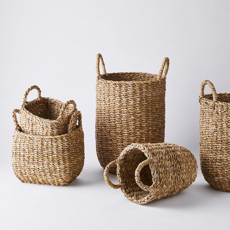 Handwoven Jute Storage Baskets with Handles