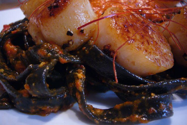 Tagliatelle Nero di Seppia with Roasted Red Pepper Pesto & Scallops