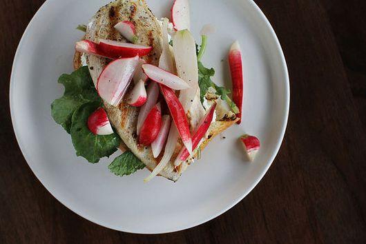 Grilled Chicken Sandwich with Radish Pickles + Greens