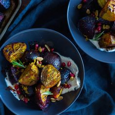 Balsamic Roasted Beets Over Greek Yogurt Hummus