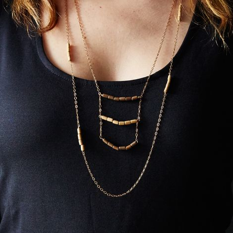 Brass and Wood Layering Necklace