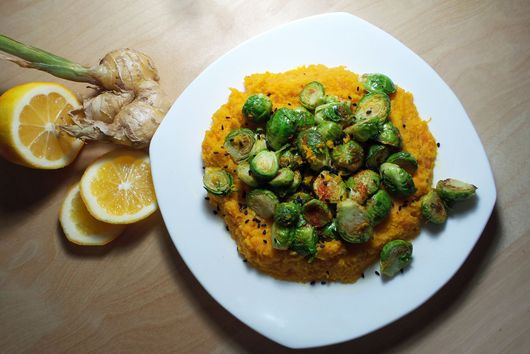 Coconut Carrot Mash with Meyer Lemon Brussels Sprouts