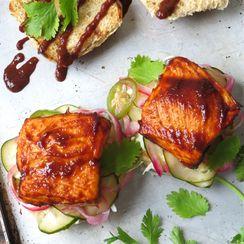 cedar-planked salmon sliders