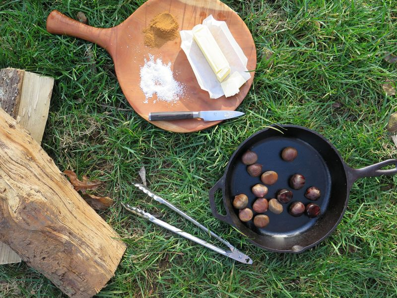 A fire, a pan, water, and chestnuts are the core tools for roasting; butter and salt, core condiments.