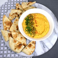 Savory Pumpkin Hummus with Toasted Naan Bread