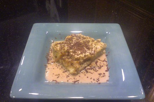 Tiramisu Bread Pudding and Cream Sauce