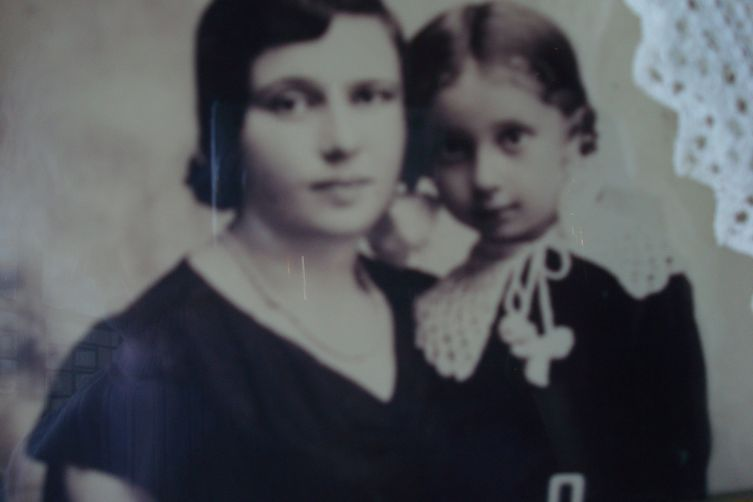 My grandmother (left) and my mother (right) in a photo as blurry as the memory itself.