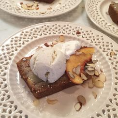 PEACH CAKE WITH ICE CREAM AND ALMONDS