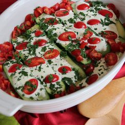 Quick Baked Zucchini with Creme Fraiche, Herbs & Tomatoes