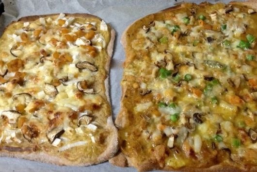 Mango Curry Pizzas with Scallops, Asparagus, Yama Imo, Mushrooms & Chicken