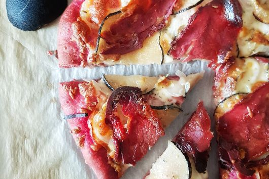 BLACK RADISH PIZZA WITH BEETROOT JUICE