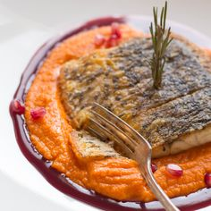 Pan Seared Barramundi with Pomegranate Sauce and Brown Butter Squash Puree